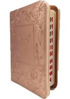 Patmos Biblia - Közepes Rosegold Virágos - Regiszteres + Cipzáras