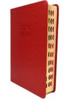 Patmos Biblia - Közepes Piros Strucc Mintás - Regiszteres